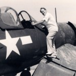 Boyington on wing of a Corsair